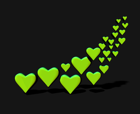 Many 3D hearts, a group of different sized yellow-green heart shapes with shadows, on a dark background.
