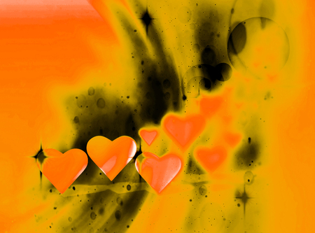 Many 3D hearts, a group of different sized heart shapes with blur vignette, curved light and dark streaks, orange tints.