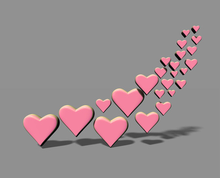 Many 3D hearts, a group of different sized pink heart shapes with shadows, on a gray background. Stock Photo