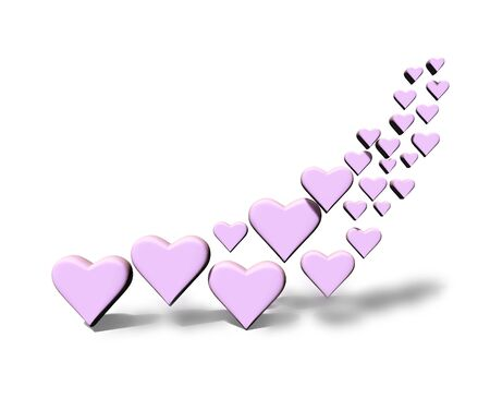 Swirl of many 3D hearts, group of different sized pink heart shapes in a curved shape, with shadows, on a white background.