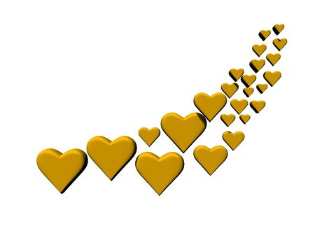 Swirl of many 3D hearts, group of different sized yellow heart shapes on a white background. Stock Photo