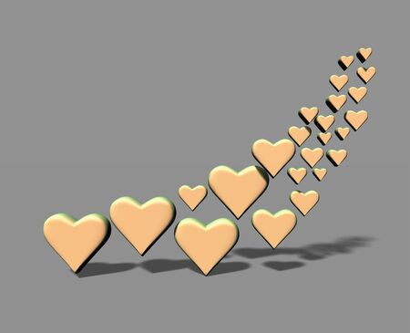 A group of 3D heart shapes, many yellow hearts with shadows, on a gray background.