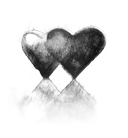 A pair of 3D heart shapes rough sketch style, two hearts close together, one transparent, standing up with reflections.