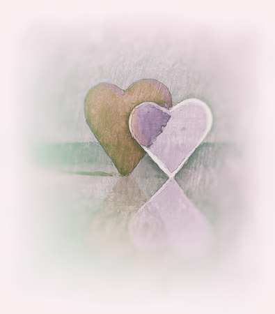 Sketched 3D heart shapes, watercolor style image of two glass hearts close together, one transparent, standing up, pink, orange and green tints, diffuse edges and blur vignette.