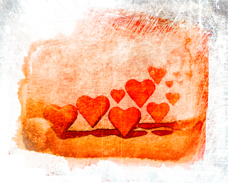 Watercolor style group of many 3D hearts, many different sized heart shapes with shadows, red and orange tints, on watercolor paper plus scratched grunge texture.