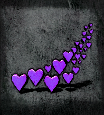 Cartoon style 3D hearts, a group of different sized purple heart shapes with shadows, grungy cartoon sketch style, on a gray grunge texture background.