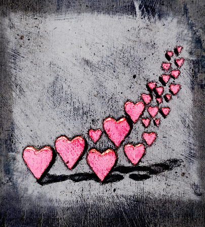 Cartoon style 3D hearts, a group of different sized pink heart shapes with shadows, grungy cartoon sketch style, on a gray grunge texture background.