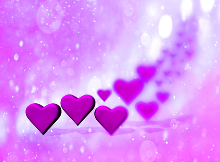 Many 3D hearts, a group of different sized magenta heart shapes with shadows, with blur vignette and bokeh texture, magenta tints. Stock Photo