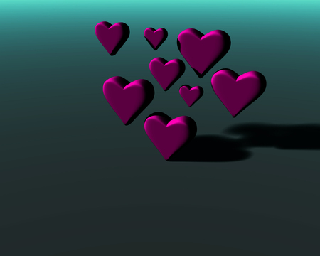 Many 3D hearts with diffuse shadows, a group of heart shapes in magenta mat material, on a green-gray background.