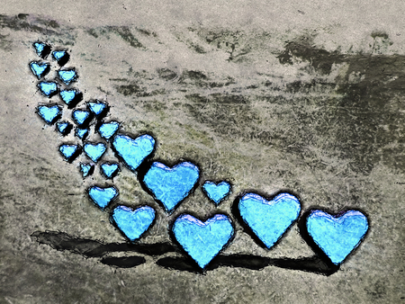 Cartoon style image of many 3D hearts, a group of different sized blue heart shapes with shadows, grungy cartoon sketch style, on a gray grunge texture background.