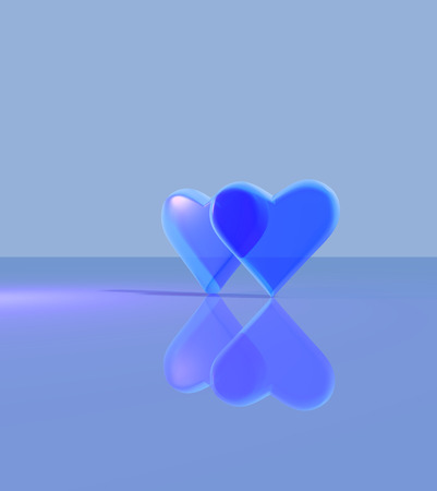 Two hearts overlapping, a pair of 3D hearts with glass material, standing up on a shiny surface, multiple light sources with shadows, blue. Stock Photo