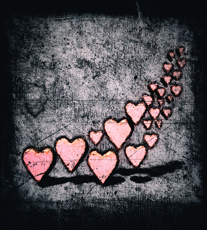 Cartoon style swirl of many 3D hearts, group of different sized pink heart shapes in a curved shape, with shadows, grungy cartoon sketch style, on a gray grunge texture background with dark vignette.
