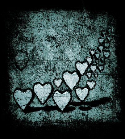 Cartoon style swirl of many 3D hearts, group of different sized heart shapes in a curved shape, with shadows, grungy cartoon sketch style, on a gray grunge texture background with dark vignette, slight blue tints.