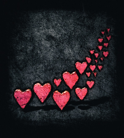 Cartoon style swirl of many 3D hearts, group of different sized red heart shapes in a curved shape, with shadows, grungy cartoon sketch style, on a gray grunge texture background with dark vignette.