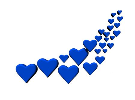 Swirl of many 3D hearts, group of different sized blue heart shapes in a curved shape, with shadows, on a white background. Stock Photo