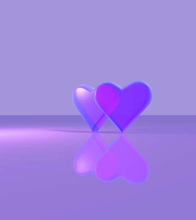 Two hearts overlapping, 3D hearts with glass material, standing up on a shiny surface, multiple light sources with shadows, purple.