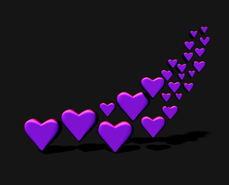 Swirl of many 3D hearts, group of different sized purple heart shapes in a curved shape, with shadows, on a dark background. Stock Photo