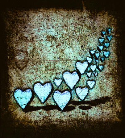 Cartoon style image of many 3D hearts, a group of different sized cyan or turquoise heart shapes with shadows, grungy cartoon sketch style, on a warm brown grunge texture background with dark vignette.