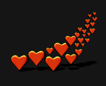 Many 3D hearts, a group of different sized orange heart shapes with shadows, on a dark background. Stock Photo