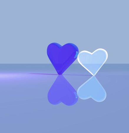 A pair of 3D heart shapes, two glass hearts leaning against each other, one transparent, standing up on a shiny surface, lit by multiple light sources, blue tints. Stock Photo