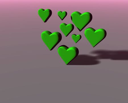 Many 3D hearts with diffuse shadows, a group of heart shapes in mat green material, on pink-gray background.