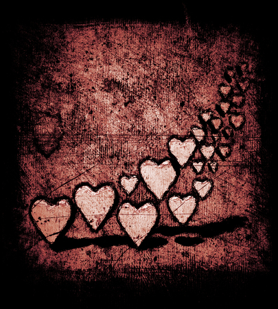 Cartoon style many 3D hearts, a group of different sized heart shapes with shadows, grungy cartoon sketch style, on a grunge texture background with dark vignette, warm color tints.