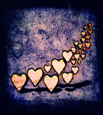 Cartoon style many 3D hearts, a group of different sized yellow heart shapes with shadows, grungy cartoon sketch style, on a purple tinted grunge texture background with dark vignette. 版權商用圖片