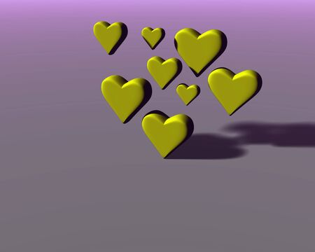 Many 3D hearts with diffuse shadows, a group of heart shapes in yellow mat material, on magenta-gray background.
