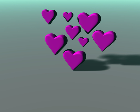 Many 3D hearts with diffuse shadows, a group of heart shapes in magenta mat material, on green-gray background.