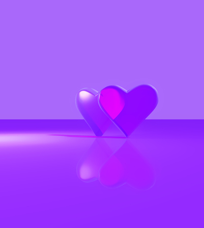 Two hearts overlapping, a pair of 3D hearts with glass material, standing up on a shiny surface, multiple light sources with shadows, purple.