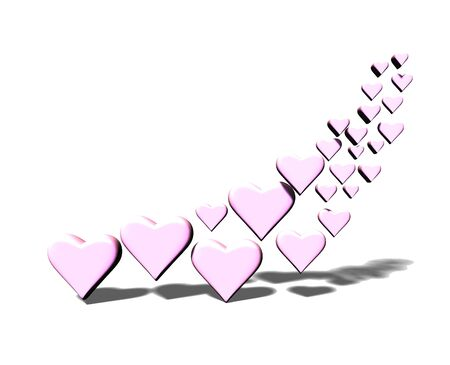 Many 3D hearts, a group of different sized pink heart shapes with shadows, on a white background.
