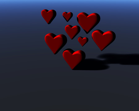 Many 3D hearts with diffuse shadows, a group of heart shapes, red hearts on blue-gray background.