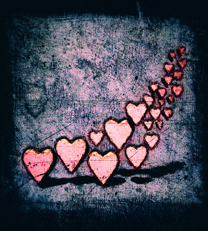 Cartoon style swirl of many 3D hearts, a group of different sized red heart shapes with shadows, grungy cartoon sketch style, on a pink and blue tinted grunge texture background with dark vignette.
