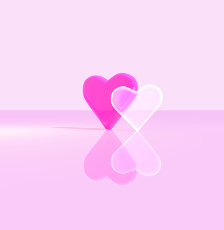 3D heart shapes, two glass hearts close together, one transparent, standing up on a shiny surface, lit by multiple light sources, red and pink tints. Stock Photo
