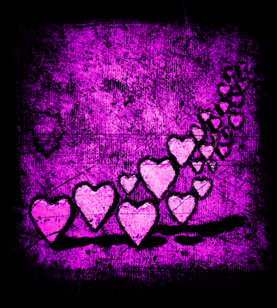 Cartoon style group of many 3D hearts, a group of different sized heart shapes with shadows, grungy cartoon sketch style, on a grunge texture background with dark vignette, magenta tints.