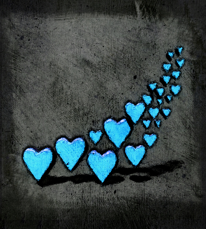 Cartoon style group of different sized bright blue heart shapes with shadows, grungy cartoon sketch style, on a gray grunge texture background. 版權商用圖片