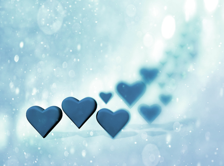 Many 3D hearts, a group of different sized blue heart shapes with shadows, with blur vignette and bokeh texture, blue tints.