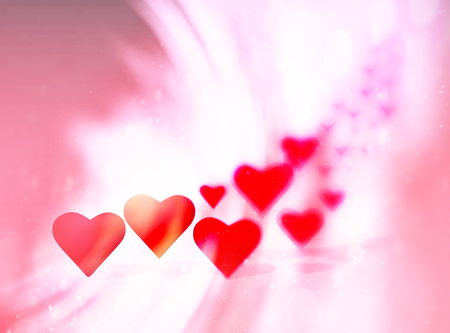Many 3D hearts, a group of different sized heart shapes with shadows, with blur vignette and curved light streaks, red tints.