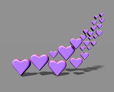 Many 3D hearts, a group of different sized purple heart shapes with shadows, on a gray background.