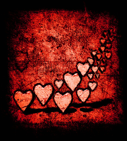 Grunge cartoon style group of 3D hearts, many different sized heart shapes with shadows, grungy cartoon sketch style, on a grunge texture background with dark vignette, red tints. 版權商用圖片