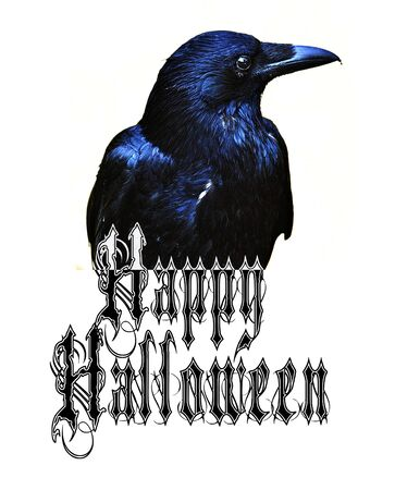 Happy Halloween card with crow and Gothic wording saying Happy Halloween.