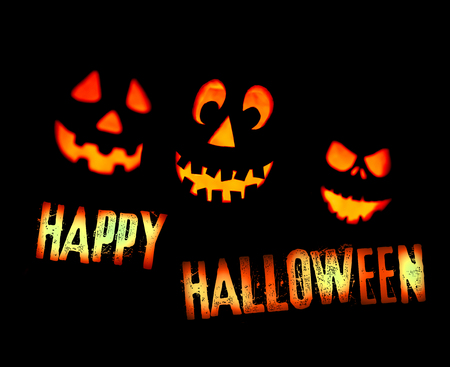 happy halloween card with scary pumpkin faces and lettering saying stock photo picture and royalty free image image