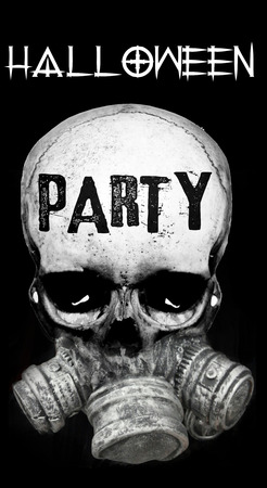 Halloween Party invite concept with fusion of skull and gas-mask, and the words Happy Halloween in a contemporary font, in grays on black background, monochrome.