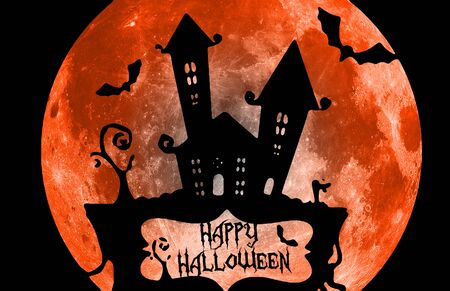 Happy Halloween card with haunted house, moon and bats, and lettering saying Happy Halloween, orange and black. Stock Photo