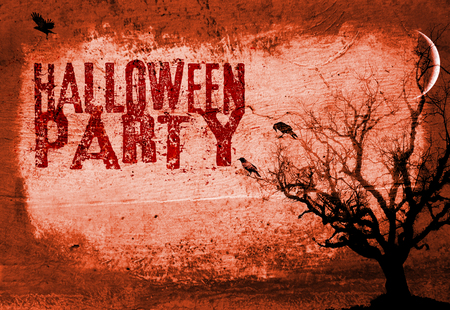 Halloween Party invite grunge style concept image, dark mood, dead tree, moon and crows, on a rough painted concrete grunge textured background, and the word Halloween party in 2 fonts, orange and red tints. Stock Photo