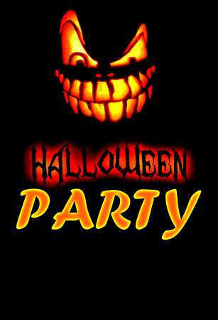 Halloween Party Invite With Scary Pumpkin Face And Black Lettering Saying  Happy Halloween, Yellow And
