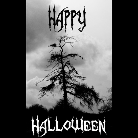 Happy Halloween Card With Dead Larch In Landscape, And Scary Lettering Saying  Happy Halloween,