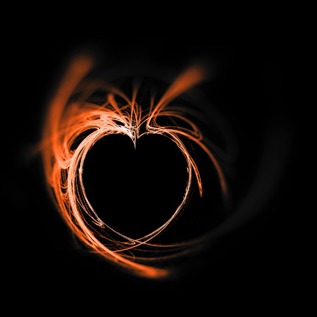Fractal heart, a beautiful flame fractal creating a heart-shaped negative space, whites and orange tints on black background, sharp grainy center and blur vignette.