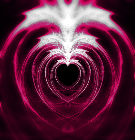Magenta heart zoom, fractal leaving heart-shaped negative space, with larger and more blurred copies blended into the image, blacks, whites and magenta tints.