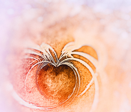 Painted fractal heart, rough painted flame fractal with heart shaped negative space, on rough painted texture, orange tints and blur vignette.